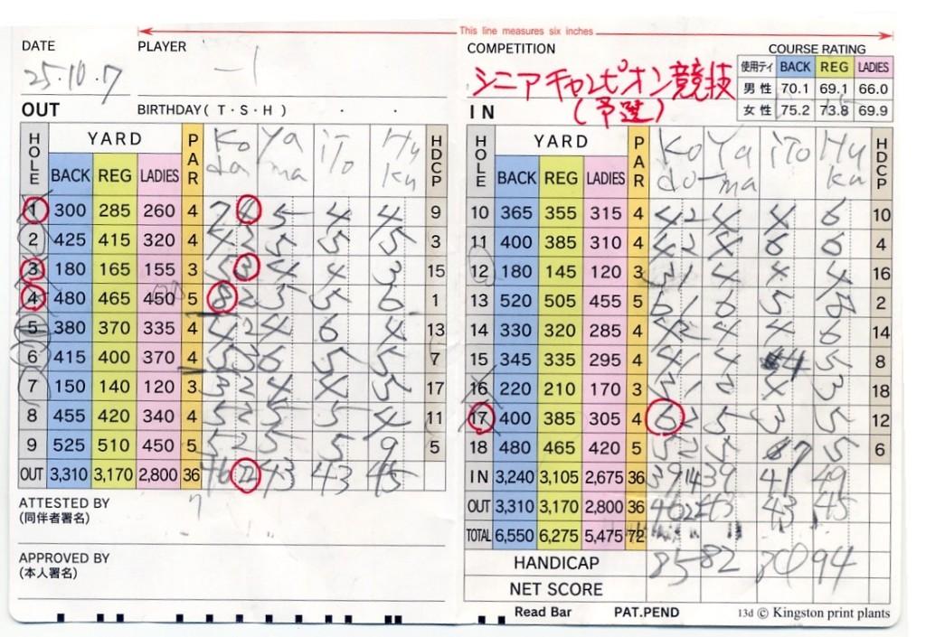 宝塚高原シニア競技予選