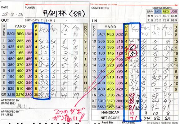 宝塚高原ゴルフ月例 8月 成績