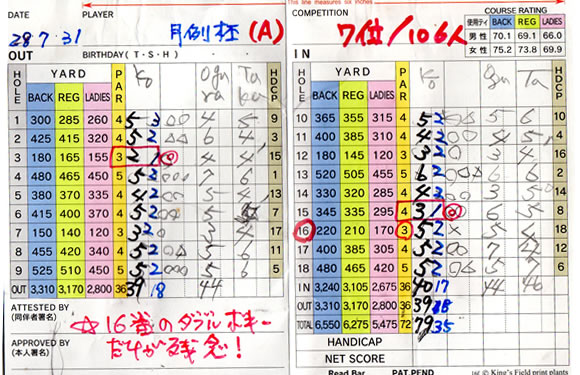 宝塚高原ゴルフ7月例競技成績表