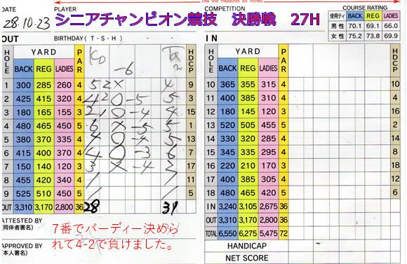 宝塚高原ゴルフシニアチャンピオン競技 決勝戦後半