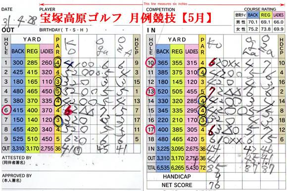 宝塚高原ゴルフ月例競技スコアカード