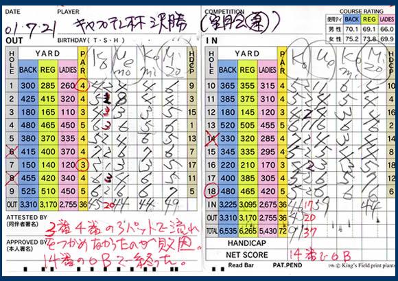 宝塚高原ゴルフ キャプテン杯スコアー